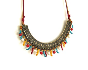 Statement Bib Necklace, Boho Girl, Indie Jewelry, Bohemian Gypsy Necklace
