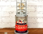 Repurposed Natco Coffee Can Lamp - Electric Light with Side Toggle Switch