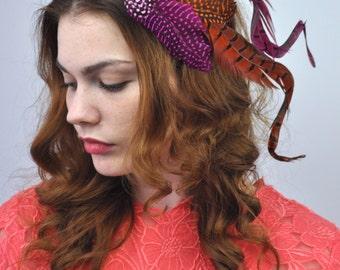 Bright Dramatic Feather Fascinator Hair Clip in Pink and Orange
