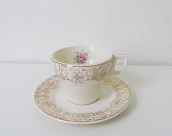 Floral Teacups and Saucers // Demitasse // Gold Filigree // Set of 3
