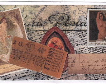 Faux Mail Art #4 - Paper Mixed Media Collage