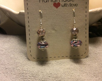 Murano Glass Earrings, Lamp Work , Handmade
