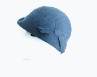 Vintage Cloche Hat Blue Felt Belmar Merrimac 1950s 100% Angora Wool