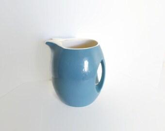 Vintage Blue Pitcher Ceramic Hidden Handle Hall Pottery 1960s