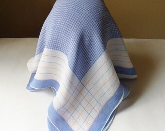 Hanky Style Rayon Head Scarf, Light Blue and White Handkerchief Scarf