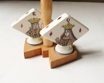 King and Queen of Diamonds Salt and Pepper Shakers with Caddy, Enesco Playing Card Shakers with Holder