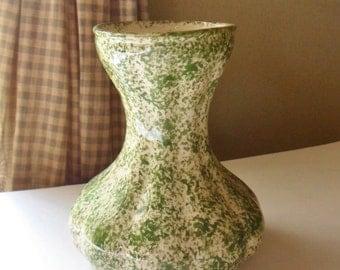 Green Spongeware Vase, Clinchfield Artware, 40's Blueridge Pottery