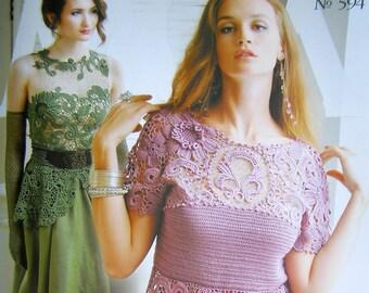 Crochet patterns Zhurnal Mod # 594 Promo wedding  Dress patterns Free form jackets, Irish lace dress, coat, skirt, cardigan