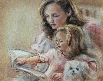 "Mother's Day Original Art ""Bedtime Story"" Pastel, Laurie Shanholtzer Artist mother and daughter reading  family painting"