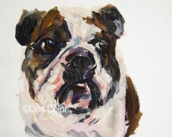 ready to ship, Original dog painting Bull Dog Gouache