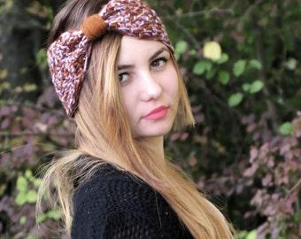 Knotted Headband Crochet Turband Ear Warmer in Brown. Ear Warmer, Head Dress, Winter Fashion, Hair Bands Hair Coverings for Women, Boho