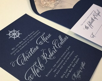 Wedding Invitation - Nautical - Navy - Seaside - Ships Wheel - Anchor - Compass