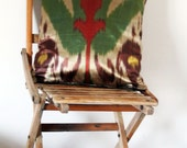 Silk Ikat Pillows - Brown, gold, red and green - Uzbek handmade Ikat fabric cushion covers - 14x14 - Ready to ship and made to order