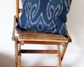Indoor Ikat Pillows - Blue tones - ethnic home decor - Uzbek handmade Ikat fabric cushion covers - 14x14 - Ready to ship and made to order