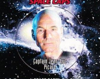 Vintage Star Trek The Next Generation Playmates Space Caps Trading Card 1994 Captain Jean-Luc Picard No 16 - Paramount - USS Enterprise