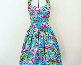 Flamingo dress- Pin up, 50's, retro, vintage, tropical, rockabilly