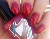 Rimonada (mini size & full size) Red shimmer w/gold + holo flash indie polish by Fedoraharp Lacquer