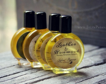 Natural perfume cologne - LEATHER AND ROSEWOOD - jojoba oil based cologne perfume - choose size