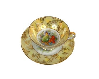 Vintage Fruit Teacup Old Gold Japan Teacup Pedestal Lusterware Hand Painted Fruit and Birds Yellow and Gold Cup and Saucer Set
