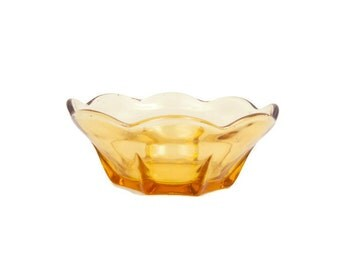 Vintage Amber Glass Bowl Small Custard Cup Dessert Dish Yellow Gold Glass Bowl