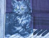 Amazing Vintage Purple Kitten on the Keys Hankie - Angora Kitten Handkerchief - Persian Cat Hankie - Stoffels Pictorial Swiss Gift Hankie