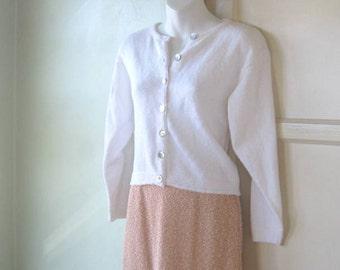 Cuddly White Cardigan Sweater - Women's Medium White Cardi - Cropped White Cotton Cardi - Fresh White Button Up Sweater