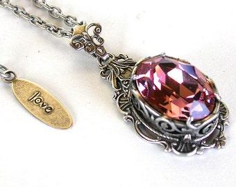 Pink Gothic Necklace Victorian Crystal Necklace Swarovski Antique Pink Pendant Gothic Bridal Necklace Victorian Gothic Jewelry