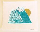 Wolf on the Mountain Blockprint Illustration