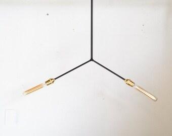 Matte Black & brass chandelier - modern mid century hanging light. Art deco inspired - SPLIT • UL Listed