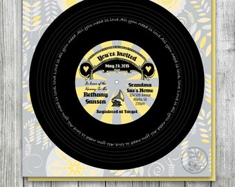 Music Record Baby Shower Invitation, Gray and Yellow Baby Shower Printable, Record Invitation, Music Theme Baby Shower, Birthday Record