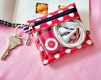 Small Change purse, small quarters pouch, small coin purse Red polka dot with see through windows , car keys wallet, personalized coin purse