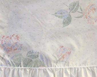 Vintage 80's twin ruffled  2 piece sheet set white with cross stitch flower design