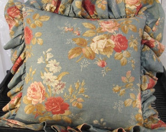 Vintage 90's Ralph Lauren ruffled linen throw pillow  cover 16""