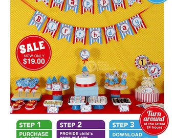 Party Ville Birthday Party Package Personalized FULL Collection Set - PRINTABLE DIY - E2a