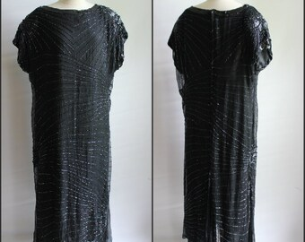Womens, Plus Size, GATSBY , silk black dress