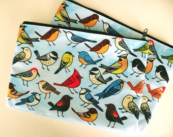 Bird zippered pouch, cosmetic bag, pencil case, large pouch, purse, Accessory