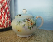 Noritake Made in Japan MIJ Hand Painted Floral Flowers Covered Sugar Bowl Aqua Blue & Gold