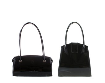 Patent leather evening bag MARLA // black, white (Italian calf leather) - FREE shipping, UNIQUE bag