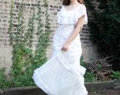 Vintage 70s Wedding Dress - White Boho Long Gown Polka Dot SM