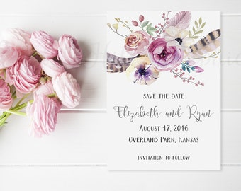 Save the Date, Boho Save the Date, Printable Save the Date, Watercolor flowers, Boho wedding, Watercolor feathers, Watercolor wedding