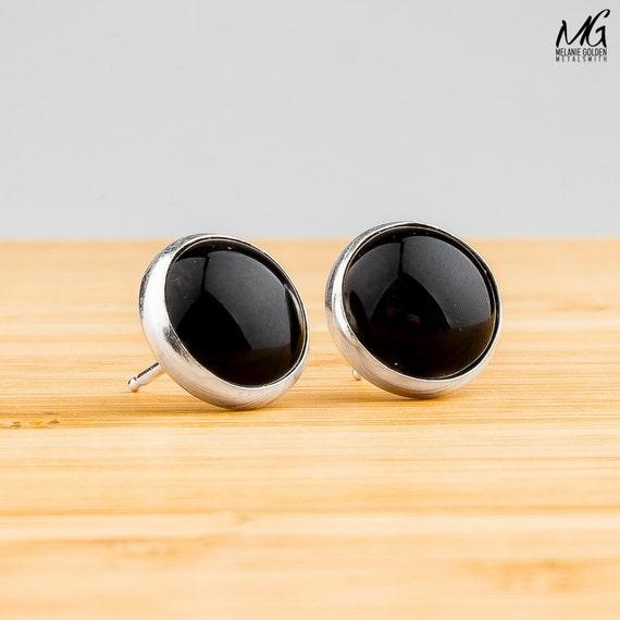 Black Earrings - Black Onyx post stud earrings in Sterling Silver - Choose your size, 4mm, 6mm, 8mm, or 10mm - Simple black earrings
