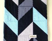 Baby Blanket, Navy Herringbone Patchwork Blanket with Grey Minky