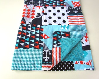 Ahoy Matey Patchwork Blanket with Turquoise Minky || Nautical Baby Blanket || Modern Patchwork Blanket || Anchors & Whales Baby Blanket
