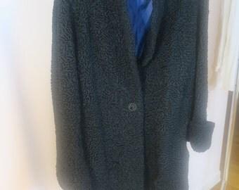 COAT ..Black  Persian Lamb Coat Full length Black lamb w Blue lining M /L