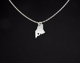 Maine Necklace - State Necklace - State Charms - Maine Gifts - Gift For Girls - Mother's Day Gift - Maine Jewelry