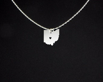 Ohio Necklace - State Necklace - State Jewelry - Ohio State - Ohio Gift - Ohio Jewelry