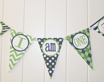 """PREPPY GOLF Highchair Banner 1st Birthday Party """"I am One"""" Lime Green Navy - Party Packs Available"""