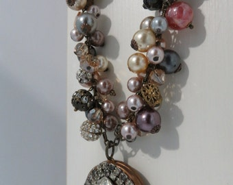 Queen of Pearland Rhinestone and Pearl vintage Locket BLING BLING