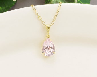 Light Pink Necklace - Gold Pink Swarovski Crystal Necklace - Crystal Pendant Necklace - Pink Bridesmaid Necklace - Wedding Jewelry