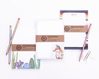 Three Notepads - Fox, Serape, Cactus Notes Paper Pads
